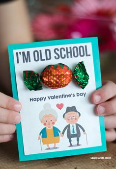 I'm Old School Valentine - printable DIY Valentine's Day card. You'll have to ask your grandma where she gets those strawberry candies though (kidding!).