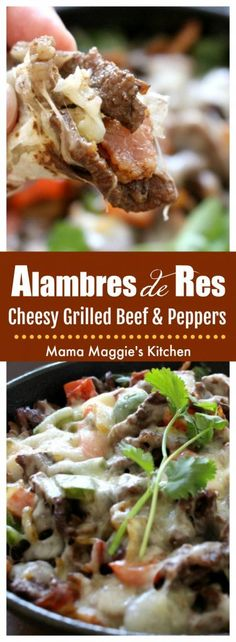 Alambre de Res is made of grilled beef, bacon, bell peppers and topped with cheese. Delicious Mexican street food and easy-to-make at home. by Mama Maggie's Kitchen via @maggieunz #mexicanfood #mexicanrecipes #beef #bacon