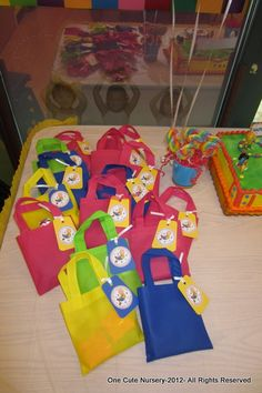 Some great Caillou ideas.  LOVE the favor bags.  You can find the bags at Dollar Tree!!