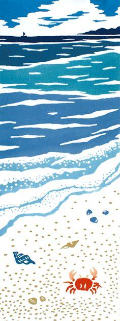 浜あそび Japanese Textiles, Japanese Patterns, Japanese Fabric, Japanese Art, Longboard Design, Organic Art, Muse Art, Tropical Art, Aboriginal Art
