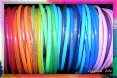 jelly bracelets...you were considered cool when you had this many and wore them with EVERYTHING! LOL