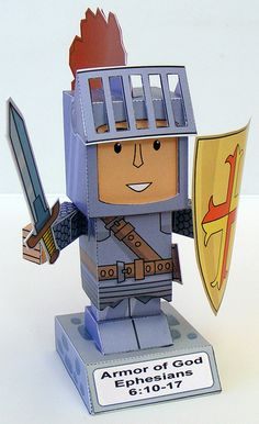 Download the PDF of the Armor of God paper toy in black and white and in colour