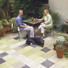 Turn a blah concrete patio into a lively mosaic by staining pavers different colors. Use a pump to spray a pretinted concrete stain.  Quikrete's semitransparent concrete stain comes in 29 shades of green, blue, red, gold, and gray; about $30 per gallon; quikrete.valsparatlowes.com for stores Photo: Steven Gunther | thisoldhouse.com | from 75 Outdoor Upgrades for Under 75