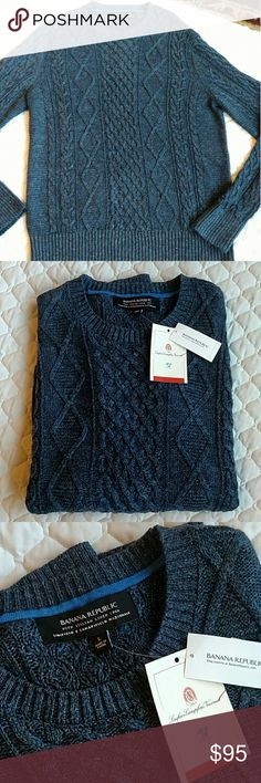 Host Pic!  Banana Republic Italian linen men's L Host Picture!!  NWT BR cable Italian linen sweater.  Beautiful stitching, deep grey blue color, but hard to describe as it's beautiful!  Cable design patterns, lightweight but still a warm layer! Banana Republic Shirts Sweatshirts & Hoodies