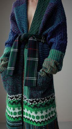 Cashmere Wool Mohair Patchwork Cardigan Coat in Hydrangea Blue - Women | Burberry
