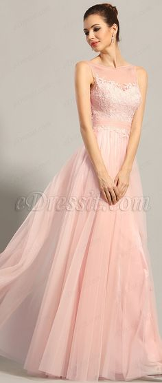 A-line Pink Evening Dress Sleeveless Prom Party Gown #eDressit