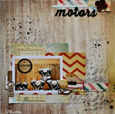 """Lay out """"Motors"""" Vintage, wood, chevrons and blue. The Pier Crate Paper"""