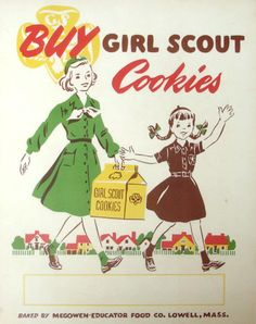 10 Things You Didn't Know About Girl Scout Cookies © Mom.me §§ Home Baked §§ Did you know that Girl Scout cookies used to be home baked? The troop members baked sugar cookies in their homes and sold them to raise money. Retro Ads, Vintage Advertisements, Vintage Ads, Vintage Posters, Retro Advertising, Vintage Labels, Vintage Ephemera, Vintage Paper, Daisy Girl Scouts