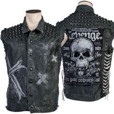 Custom Denim And Leather Studded Vest WSCV-423 MTO