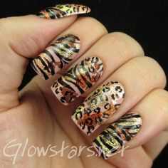 Leopard and Zebra on Metallic Leaf: A manicure using Jessica Honeymoon Hideaway and All That Jazz Welcome To After Hours