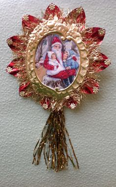 Vintage Look Victorian Christmas Ornament-1900's Postcard Santa, Spun Glass,German Dresdens,German Tinsel,Vintage Reflector, Lametta Icicles by HavAMarileeChristmas on Etsy