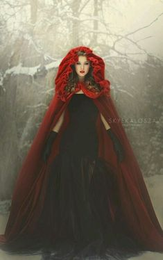 Cosplay Inspiration DIY this Lush Velvet Cloak for many characters. Not only a red cloak for Red riding hood but it's velvet! Raindrops and Roses Beauty Photography, Fantasy Photography, Dark Beauty, Gothic Beauty, Foto Fantasy, Raindrops And Roses, Red Hood, Little Red, Lady In Red
