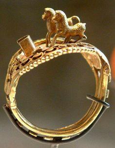 Gold horse ring of Pharaoh Ramesses II (1279-1213 B.C.) New Kingdom 19th Dynasty c.a. 1297-1185 B.C.