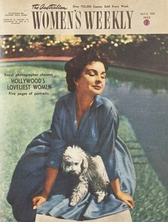 How beautiful is this portrait of Jean Simmons sitting poolside with her pet poodle?!