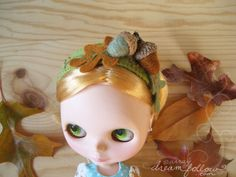 Autumn Acorns headband for Blythe