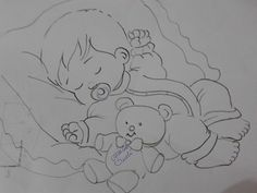 Baby sleep drawing 60 ideas for 2019 Baby Embroidery, Embroidery Patterns, Quilt Patterns, Sleeping Drawing, Baby Drawing, Baby Painting, Fabric Painting, Baby Clip Art, Coloring Book Pages
