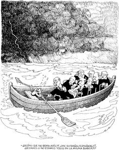 Aren't we all on the same boat? - by Quino & Webtoon Comic Manga, Argentine, Social Art, Political Art, Humor Grafico, Amazing Adventures, Funny Comics, Comic Strips, Best Funny Pictures