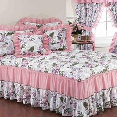 Stunning bedspreads add the perfect finishing touch to your bedroom decor. The bedspread is a decorative addition that enhances any bedroom in your ho. Daybed Bedding, Cal King Bedding, Queen Bedding Sets, Girls Bedding Sets, Satin Bedding, Ruffle Bedding, Pink Bedding, Floral Bedding, Shabby Chic Twin Bedding