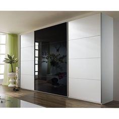 De hoog glans zwarte deur in het midden Tall Cabinet Storage, Locker Storage, Armoire D'angle, Design Moderne, Furniture Inspiration, Lockers, Divider, Room, Home Decor