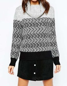 Image 3 ofOnly Roll Neck Pullover with Pattern Front