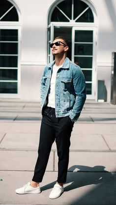 Jean Outfits, Casual Outfits, Men Casual, Denim Jacket Men, Bomber Jacket, Denim Fashion, Fashion Outfits, Sharp Dressed Man, Casual Shirts