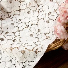 Lace Fabric White Cotton Lace Wedding Fabric by miraculousfabric, $8.99