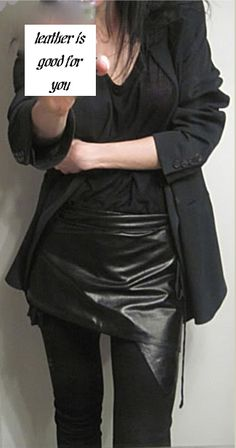 ann demeulemeester leather apron/wrap