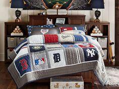 Baseball pyramid at PBteen MLB Beadboard Bedroom on pbteen.com