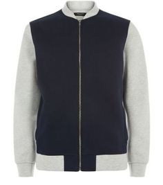 Navy and grey - a classic colour combination that makes the Grey Contrast Bomber Jacket so stylish.