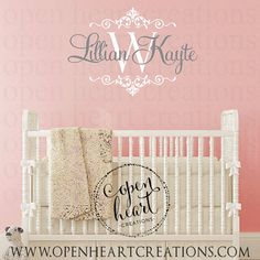 Name Wall Decal Emma Grace Monogram Wall Decal For Nursery - Monogram wall decals for nursery