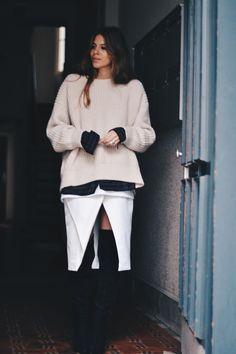chunky knit, cool skirt & thigh highs. Maja in Copenhagen. #MajaWyh      |     styletorch.com
