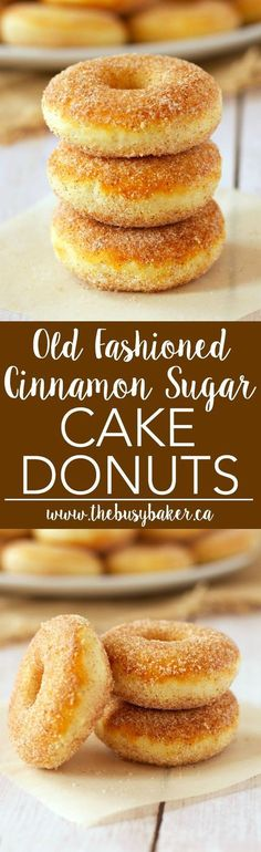 These Old Fashioned Cinnamon Sugar Baked Cake Donuts are easy to make, and they're lower in fat and sugar than most donuts, making them a healthier choice! Recipe from http://thebusybaker.ca!