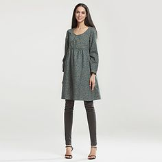 Women's+Casual/Daily+Plus+Size+Street+chic+Loose+Skater+Dress,Print+Round+Neck+Knee-length+Long+Sleeve+Polyester+Spring+High+Rise+–+USD+$+17.99