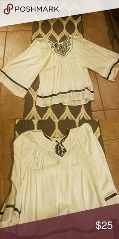 Sold on another site$$$  Blouse MSSP Beautiful blouse with flared arms, decorative design at the collar. Buttons in the back. This has been worn only once. In excellent condition! Max Studio Specialty Products Tops Blouses