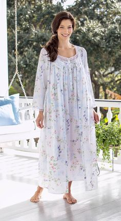 Eileen West cotton lawn robe in a light, airy floral pattern features full button front pockets. Floral-print robe with pintucking and edged lace detailing is stunningly beautiful. Cotton Nighties, Cotton Sleepwear, Sleepwear Women, Cotton Dresses, Asian Bridesmaid Dresses, Pyjamas, Night Gown Dress, House Dress, Beautiful Gowns