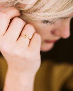 Gold Monogram Delicate Letter Ring