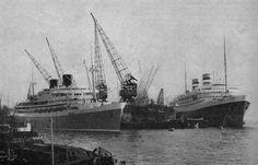 Het SS Willem Ruys en SS Nieuw Amsterdam.