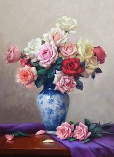 Beautiful Paintings, Rose Paintings, Vintage Roses, Flower Art, Painting & Drawing, Still Life, Drawings, Bouquet, Floral