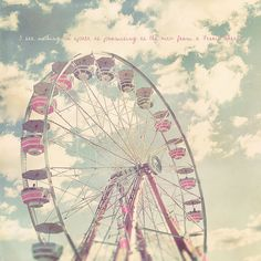 Pink Ferris Wheel Photo Art Print Carnival Summer Whimsical Clouds... (£22) ❤ liked on Polyvore featuring backgrounds, pictures, photos, icons, pics and fillers