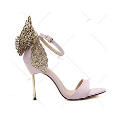 Pink Party Wings and Ankle Strap Design Sandals For Women (1,635 INR) ❤ liked on Polyvore featuring shoes, sandals, rosegal, wing shoes, ankle strap shoes, going out shoes, pink shoes and winged sandals