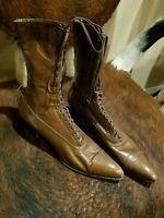 Antique Victorian Brown Leather Boots Ladies High-Top Lace-Up Peters St Louis