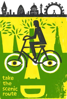 cycling in london poster by ben jones.  bicycling is great for the environment and our soul!  bike when you can...stay in touch, stay in tune!