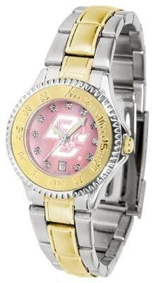 Boston College Eagles Ladies Watch Mother-of-Pearl Two-Tone Watch by SunTime. $99.95. Stainless Steel Band with Gold plated Inlay. Mother-Of-Pearl with Swarovski Crystal Indexes. Officially Licensed Boston College Eagles Women's Two Tone Dress Watch. Links Make Watch Adjustable. Women. Boston College Eagles Ladies Watch Mother-of-Pearl Two-Tone Watch. This Eagles watch has a functional rotating bezel that is color-coordinated to compliment your favorite team logo. The Co...