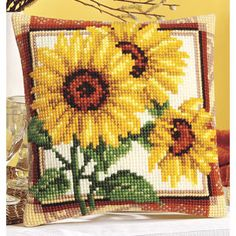 Sunflower Triplet Pillow Top - Cross Stitch, Needlepoint, Embroidery Kits – Tools and Supplies