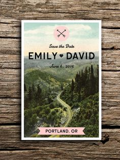 Mountain Road Vintage Postcard Save the Date // by factorymade, $35.00