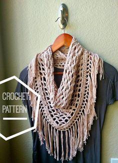 Вязание крючком шарф шаблон, Треугольник шарф шаблон, Fringe шарф вязания…