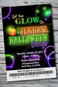 GLOW IN THE DARK Halloween Party Invitation Ticket NEON Birthday Costume Disco Halloween Party Invitations, Printable Birthday Invitations, Halloween Party Costumes, Halloween Dance, Halloween 2014, Printable Party, Invitation Templates, Halloween Decorations, Neon Birthday