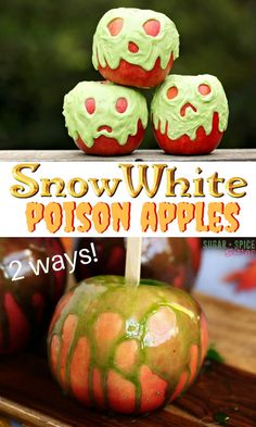These Snow White Poison Candy Apple are such a fun Halloween recipe based on Disneys iconic poison apple now seen in Descendants. A fun food craft for a kids Halloween party halloween cooking ideas What Is Halloween, Easy Halloween, Halloween Party, Halloween Recipe, Zombie Party, Halloween Books, Halloween Stuff, Halloween Cocktails, Halloween Desserts