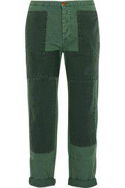 Patchwork cotton-twill straight-leg pants