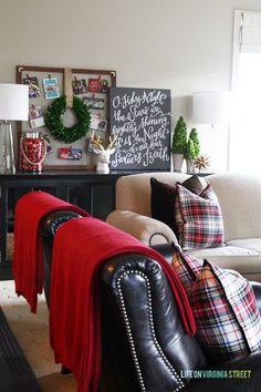 Red and Plaid Living Room and Christmas 2014 Home Tour - Life On Virginia Street